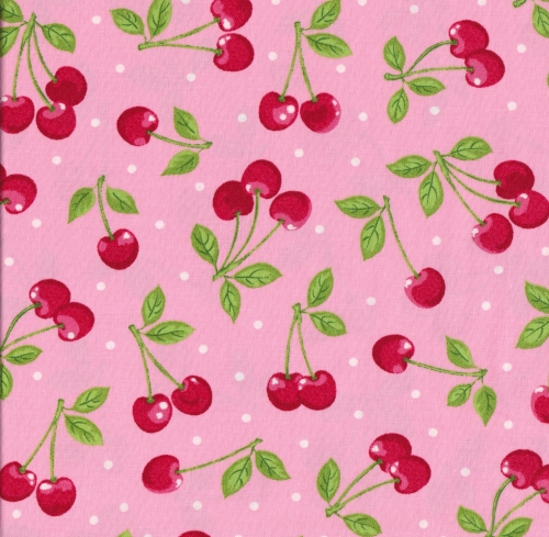 KAUFMAN - Summer Time - Cherries Pink