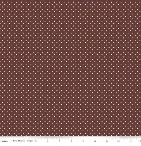 RILEY BLAKE - Swiss Dot Brown In Flannel - Brown
