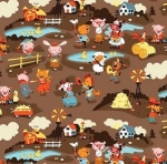 RILEY BLAKE - Harmony Farm - Farm Scene Brown - FLANNEL