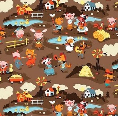 RILEY BLAKE - Harmony Farm - Farm Scene Brown - FLANNEL