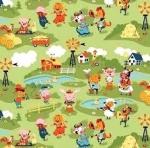 RILEY BLAKE - Harmony Farm - Farm Scene Green - FLANNEL