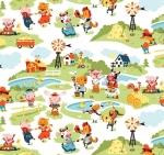 RILEY BLAKE - Harmony Farm - Farm Scene White - FLANNEL