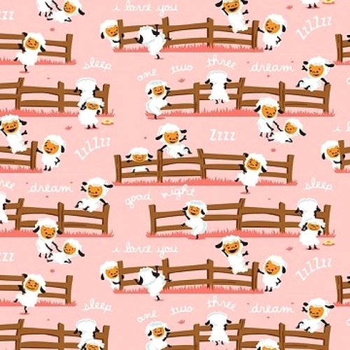 RILEY BLAKE - Harmony Farm - Sheep Pink - FLANNEL