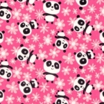 FABRIC VISIONS INC - Pandas - Field of Flowers - PWDW135.PINK