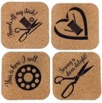Sheer Fun Sewing Themed Cork Coaster Set of 4