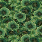 TIMELESS TREASURES - Packed Water Lily Pads - Metallic - Green