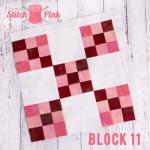 Free Stitch Pink Sampler Block 11 - Five and Nine