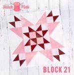 Free Stitch Pink Sampler Block 21 - Celebrity