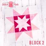 Free Stitch Pink Sampler Block 2 - On The Rise