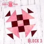 Free Stitch Pink Sampler Block 3 - Monkeying Around