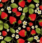 TIMELESS TREASURES - Fruit - Strawberry Vines - Black