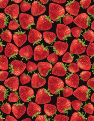 TIMELESS TREASURES - Fruit - Tossed Strawberries - Black