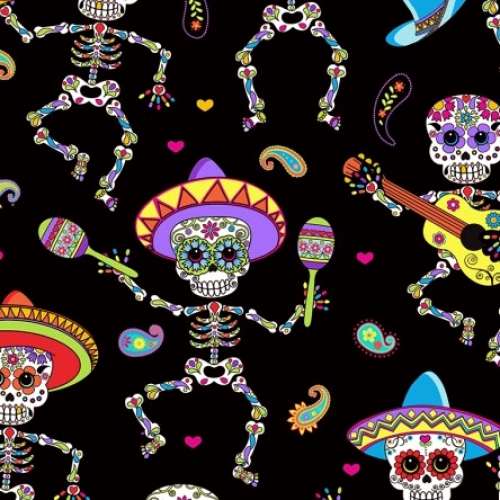 TIMELESS TREASURES - Day of the Dead - Dancing Skeletons