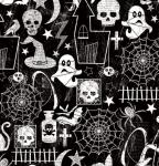 TIMELESS TREASURES - Glow In The Dark - Halloween Motifs - Black