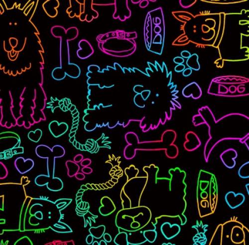 TIMELESS TREASURES - Rainbow Dog Outline - Bright