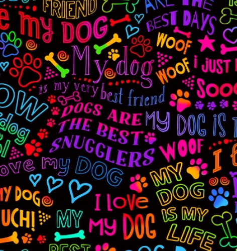 TIMELESS TREASURES - Dog Best Friends Rainbow Writing - Bright
