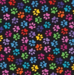 TIMELESS TREASURES - Crazy For Cats - Paw Prints - Black/Multi