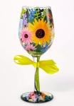 Designs by Lolita Wine Glass - Wildflowers