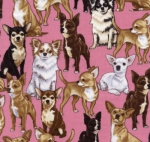 TIMELESS TREASURES - GM - Chihuahuas - Pink