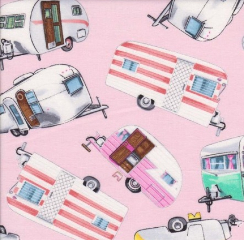 TIMELESS TREASURES - Vintage Campers - Pink