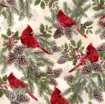 TIMELESS TREASURES - A Very Merry Christmas - Cardinals on Holly - Metallic