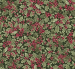 TIMELESS TREASURES - A Very Merry Christmas - Holly Leaves and Berries - Metallic