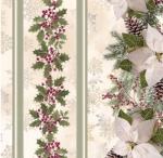 TIMELESS TREASURES - A Very Merry Christmas - Holly Poinsettia Pine Stripe - Metallic