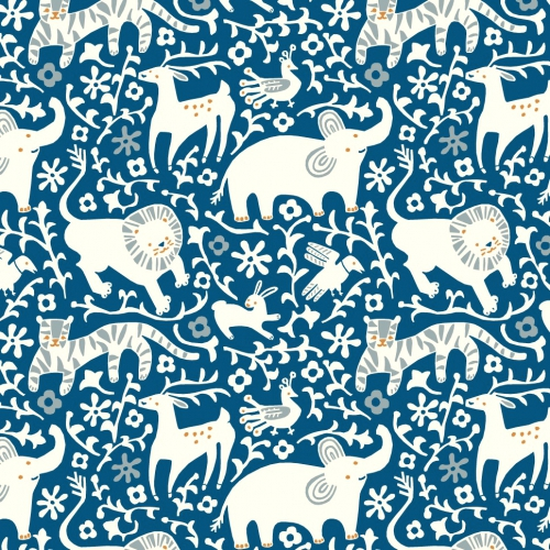 BIRCH FABRICS - Enchanted Kingdom - Organic Cotton - Poplin - Royal