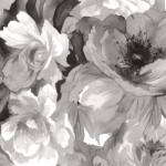 MAYWOOD STUDIO - Nocturne - Luscious Flowers Black & White