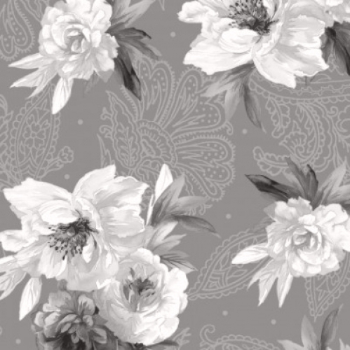 MAYWOOD STUDIO - Nocturne - Flowers on Paisley Dark Gray