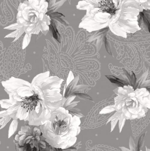 MAYWOOD STUDIO - Nocturne - Flowers on Paisley Dark Gray