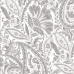 MAYWOOD STUDIO - Nocturne - Paisley Ultra White & Gray