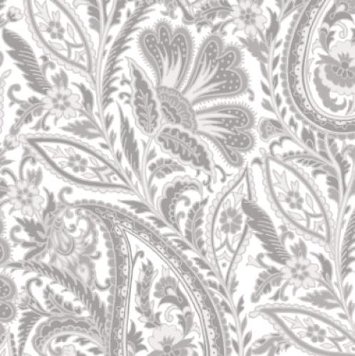 MAYWOOD STUDIO - Nocturne - Paisley Ultra White & Gray