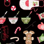 MAYWOOD STUDIO - We Whisk you a Merry Christmas - Kim Christopherson - Christmas Baking - Black