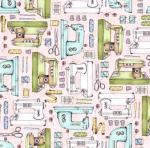 MAYWOOD STUDIO - Measure Twice by Kris Lammers - Sewing Machines - Pink