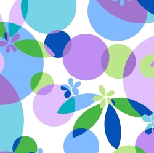 Skinny - SK3566- 5/8 yds - MAYWOOD STUDIO - Good Vibrations - Bubbles and Blossoms - Violet - Blue