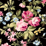 MAYWOOD STUDIO - Wild Rose Flannel - Delicate Floral - Black