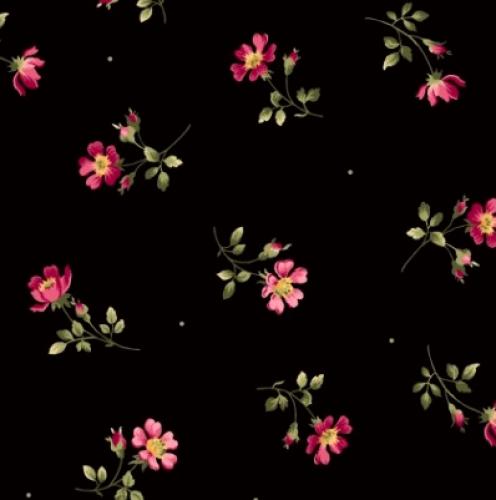 MAYWOOD STUDIO - Wild Rose Flannel - Single Flower - Black