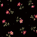 MAYWOOD STUDIO - Wild Rose Flannel - Single Flower - Black