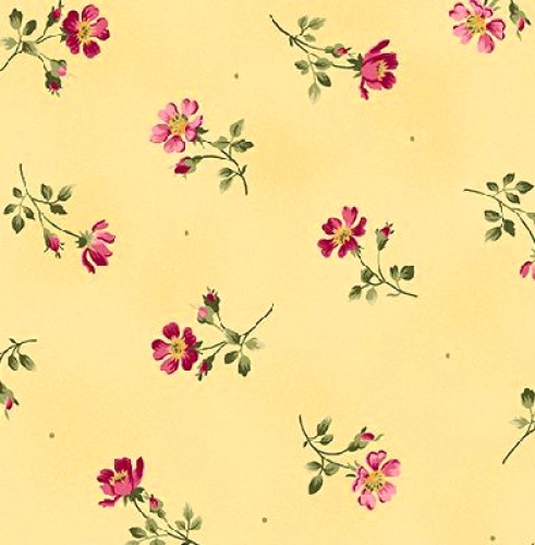 MAYWOOD STUDIO - Wild Rose Flannel - Single Flower - Yellow