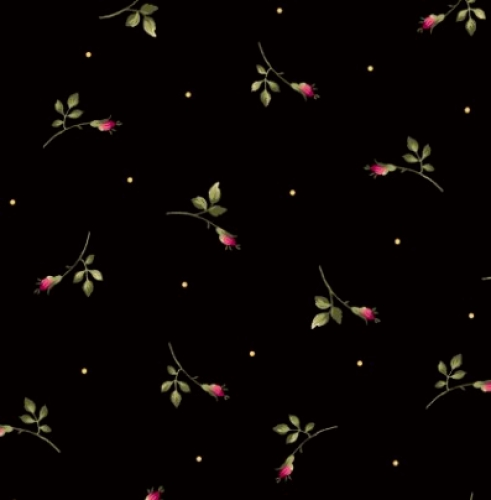 MAYWOOD STUDIO - Wild Rose Flannel - Rosebuds - Black