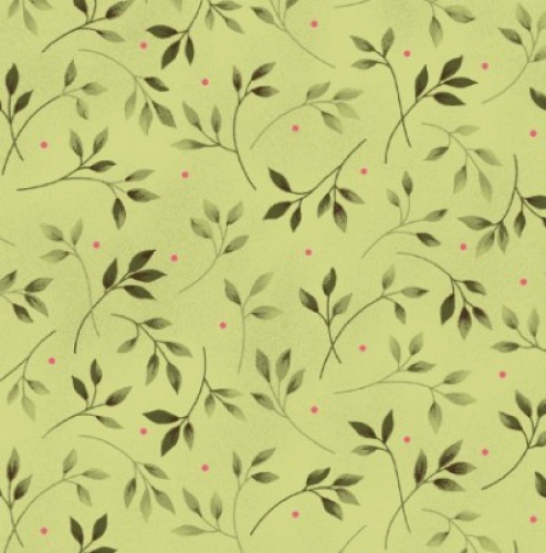 MAYWOOD STUDIO - Wild Rose Flannel - Leaves Green
