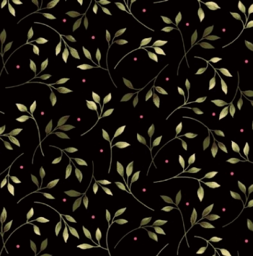 MAYWOOD STUDIO - Wild Rose Flannel - Leaves Black