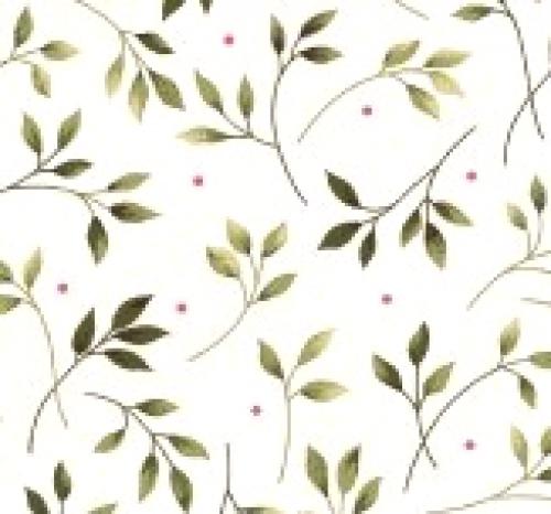 MAYWOOD STUDIO - Wild Rose - Marti Michell - Leaves - Winter - White