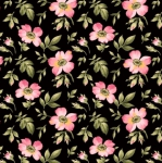 MAYWOOD STUDIO - Wild Rose Flannel - Open Roses - Black