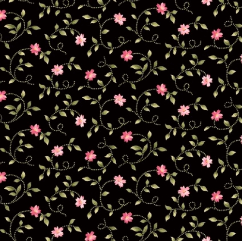 MAYWOOD STUDIO - Wild Rose Flannel - Little Buds - Black