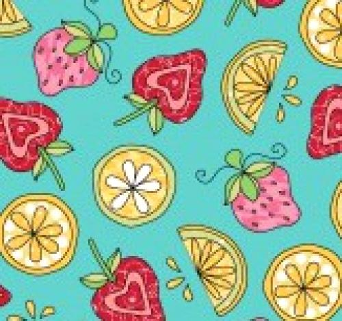 MAYWOOD STUDIO - Lil' Sprouts Flan Too - Kim Christopherson - Strawberries N' Lemons - Teal