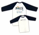 Black and White Medium Cotton 3/4 Sleeve Raglan T-Shirt