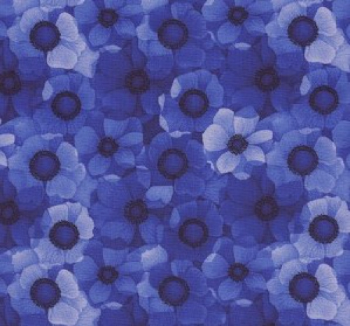 TIMELESS TREASURES - Misty by Chong-a Hwang - Misty-CD6843- Packed Flowers - Royal - Blue