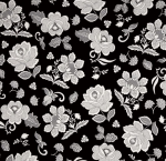 HOFFMAN - Simply Eclectic Indigo - Floral - Black/White
